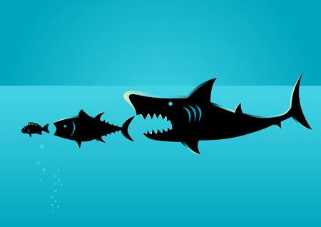 Illustration du plus grand poisson se précipite sur des poissons plus petits, concept de droit naturel, le plus faible inférieur au plus fort