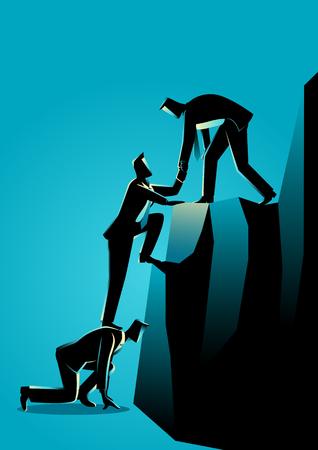 Business concept illustration d'hommes d'affaires aidant l'autre escalade au sommet de la roche Banque d'images - 72920978
