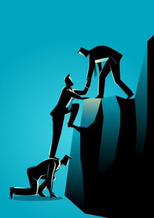 Business concept illustration of businessmen helping each other climbing to the top of the rock