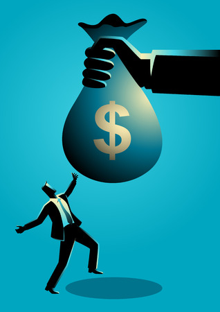 Business concept illustration of a joyful businessman receiving a huge money bag