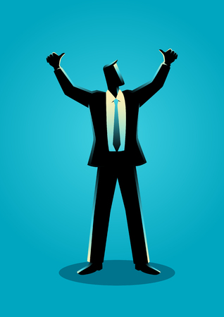 jubilant: Business illustration of a businessman hands up, doing thumbs up