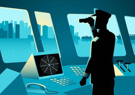 Ilustración gráfica de un capitán de buque utilizando un binoculares en la sala de navegación Ilustración de vector
