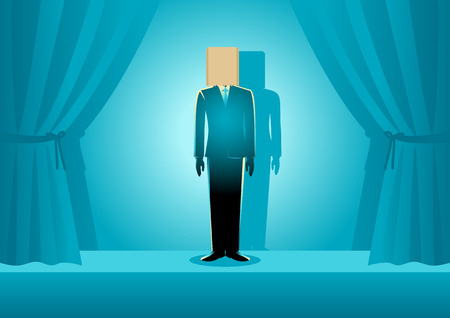 Business concept illustration of a businessman wearing paper bag on his head on the stage, embarrassment, ashamed, bad performance, failure concept Illustration