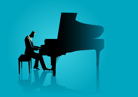 Graphic illustration of a musician playing piano Illustration