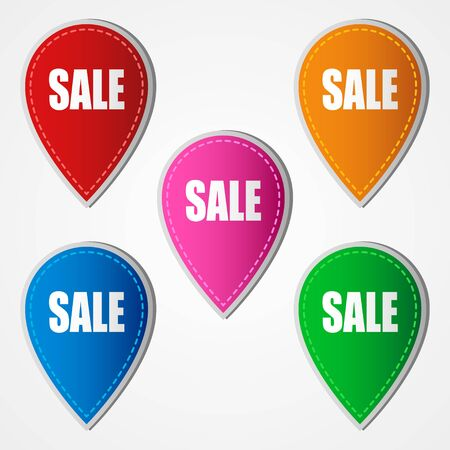 sale icons: Sale icons in five different colors isolated on white