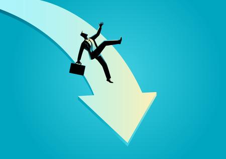 slip homme: Business concept illustration de l'homme d'affaires tomber sur la flèche graphique, échec des entreprises, concept de crise