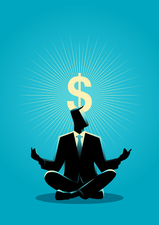 freedom concept: Business concept illustration of a businessman meditates with enlightenment dollar symbol above his head