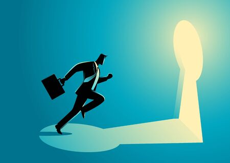 key hole: Business concept illustration of a businessman running towards a key hole. Business, chance, opportunity, success concept