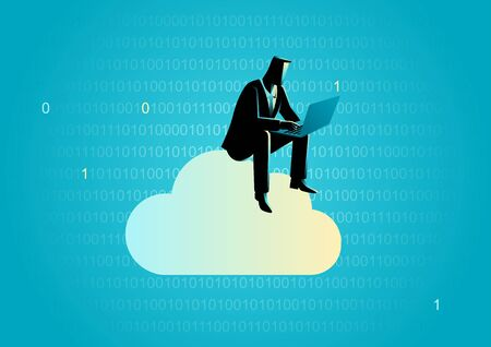 Business concept illustration of a businessman sits on cloud working with laptop computer with binary numbers as the background