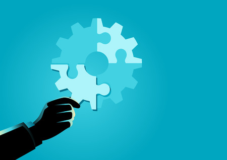 Business concept illustration of businessman hand holding the final piece of puzzle which forming a gear, business, complete, completion, solution concept