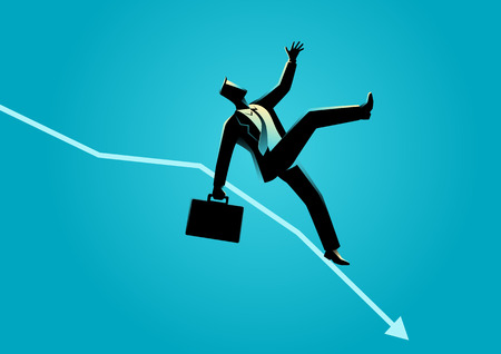 slip homme: Business concept illustration of businessman fall down on decreasing graphic chart, business failure, crisis concept