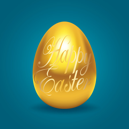 Decorative golden egg with Happy Easter text, made with gradient mesh in vector format