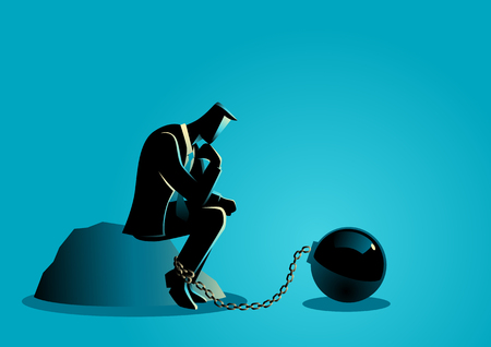 enslave: Business concept illustration of a chained businessman