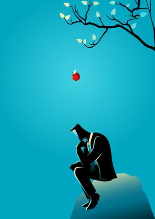 concepto de negocio ilustración de una manzana que cae del amanecer a la cabeza de un hombre de negocios de pensamiento Ilustración de vector