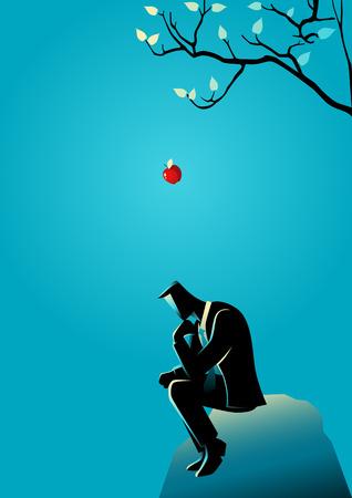 Business concept illustration of an apple falling dawn to the head of a thinking businessman Vectores