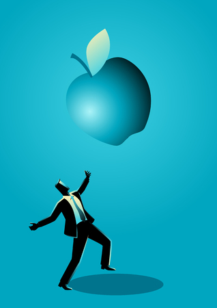 Business concept illustration of a businessman receiving a fallen big apple, for invention, big ideas concept