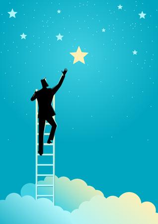 Business concept illustration of a businessman reach out for the stars Ilustração