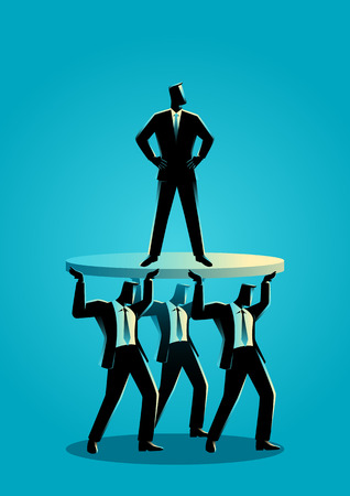 Business concept illustration of a businessman supported by business colleagues Illustration