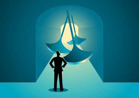 Business concept illustration of a man thinking to pass through a tunnel with swinging blades. Ilustração