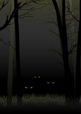 staring: Scary eyes staring and lurking from dark woods, suitable for Halloween theme
