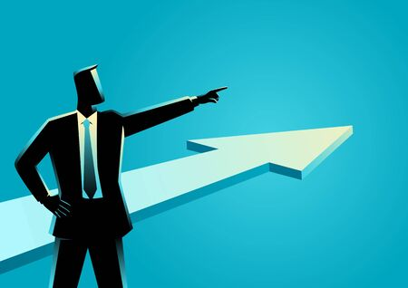 Business concept illustration of a businessman pointing finger with arrow graphic on the background