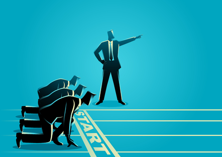 competitor: Business concept illustration of a businessman with pointed hand ordering his subordinate to start running