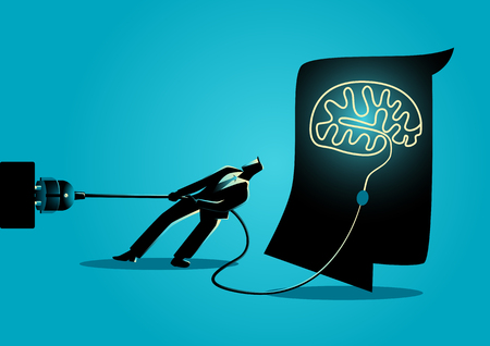 Business concept illustration of a businessman trying to unplug the brain, sabotage, killing creativity concept Zdjęcie Seryjne - 78533030