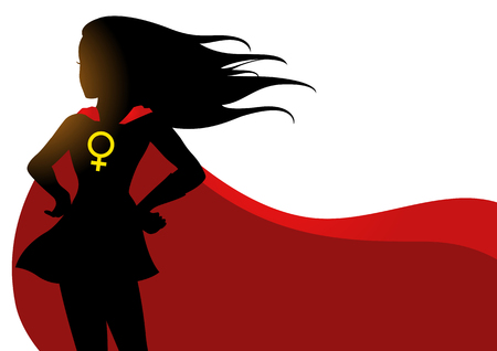 Illustration of a superheroine in red cape with female symbol