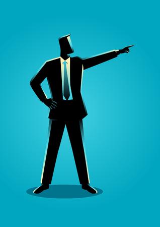 Business concept illustration of a businessman pointing finger