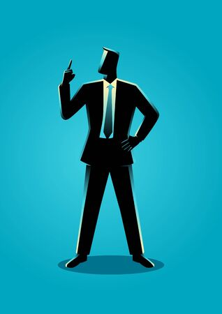 business confidence: Business illustration of a businessman with a finger pointed up Illustration