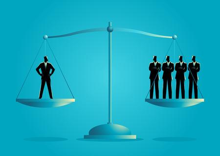 Business concept illustration of a businessman equal as four businessmen
