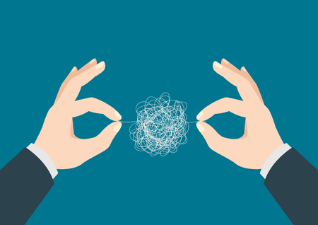 Business concept illustration of man hands trying to untangle the tangled thread