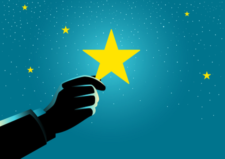 Concept illustration of a businessman hand picking up a star