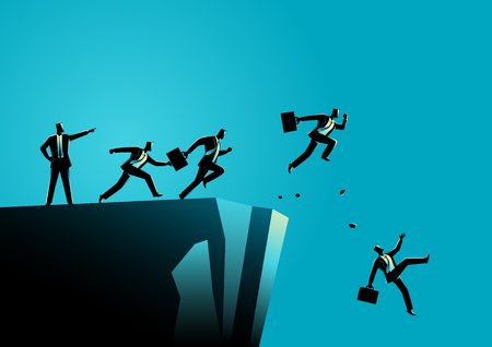 Illustration de concept d'entreprise d'un leader pointant du mauvais côté à ses subordonnés. Mauvais concept de leadership Banque d'images - 78532708