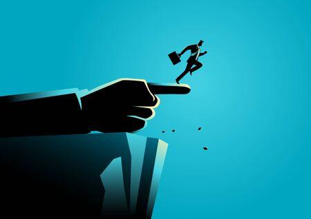 Ilustración del concepto de negocio de una mano gigante que apunta a la manera incorrecta a un hombre de negocios Ilustración de vector