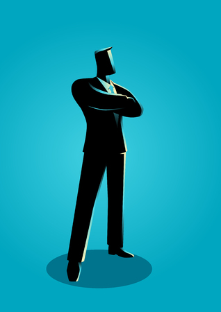 Business illustration of a confident business man standing with folded arms Illustration