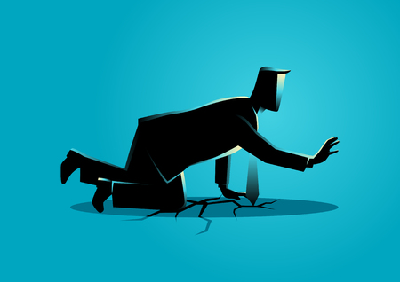 Business illustration of a businessman crawling on crack land