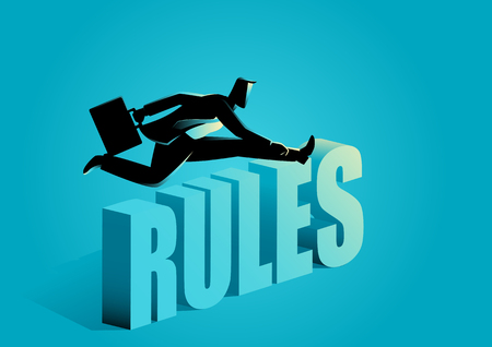 Business concept illustration of a businessman breaking the rules Illustration