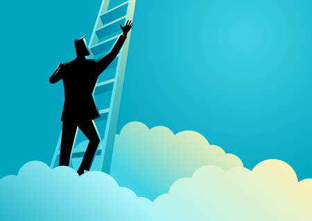 Business concept illustration of a businessman climbing a ladder above the clouds Illustration