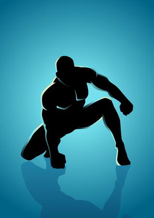 arrodillarse: Ilustración de la silueta de la actitud heroica
