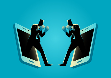 Businessman concept illustration of businessmen with boxing gloves comes out from cellular phone ready to fight