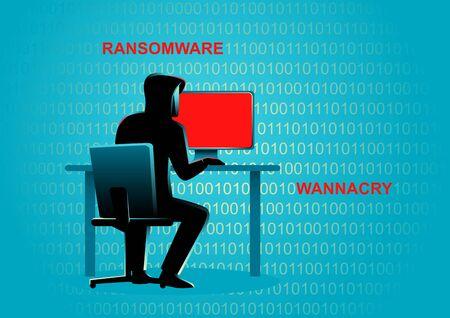 Concept illustration of a hacker behind desktop computer Stock Illustratie