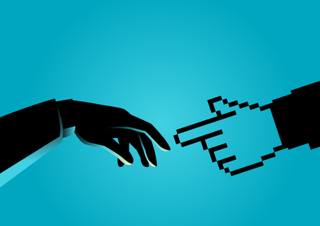 Concept illustration of a human hand touching pixelated hand, connection between human and technology