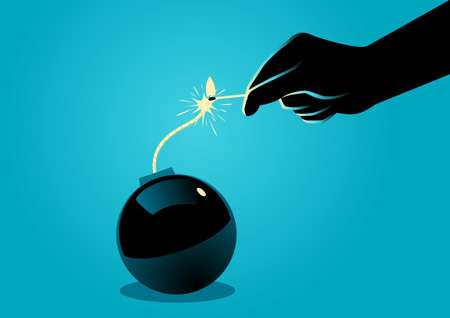 terrorist attack: Illustration of hand igniting a bomb with match