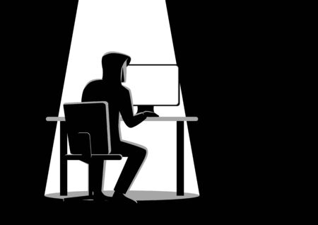 breaking the code: Black and white illustration of a hacker behind desktop computer Illustration