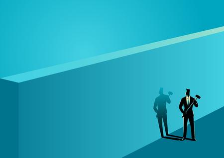 Business concept illustration of a businessman standing near wall with a hammer Ilustração