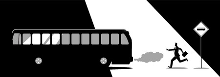 Business concept illustration of a businessman chasing the bus