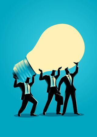 analogy: Business concept illustration of businessmen lifting up a light bulb together Illustration