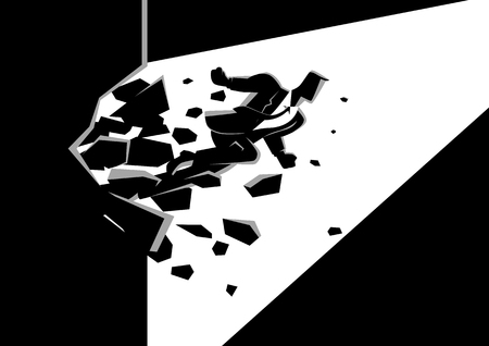 Black and white illustration of a businessman breaking the wall. Business, breakthrough, success, challenge concept Vectores