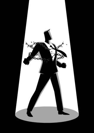 Bedrijfsconceptenillustratie van een zakenman brekende kettingen, vrijheid, geest, strijd, revolutie in bedrijfsconcept